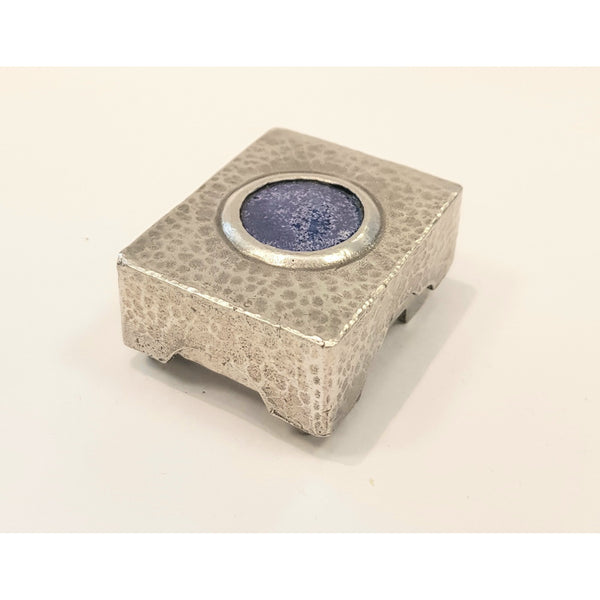 Studio Pottery Ceramics Blue Rectangular Pewter Box with Glazed Ceramic Bead by Lorraine Bates