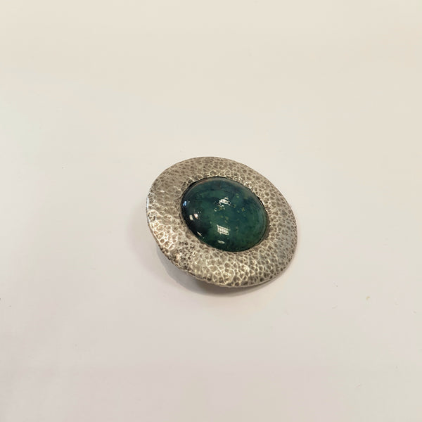 Studio Pottery Ceramics Blue Green Round Pewter Brooch with Glazed Ceramic Bead by Lorraine Bates