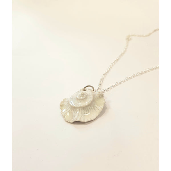 Studio Pottery Ceramics Silver Chain with White Glazed Ceramic Fossil Ammonite Necklace by Lorraine Bates