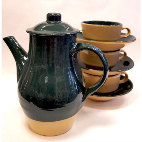 Studio Pottery Ceramics Teapot and cups by Alan Stuttle 1937