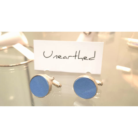 Unearthed Jewellery C10 Reclaimed Wedgwood set in Silver Cufflinks, found Middleport by Lynn Davis of Unearthed