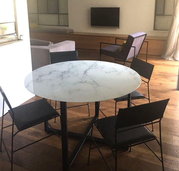 ROXANNE - ROUND GLASS & METAL DINING TABLE