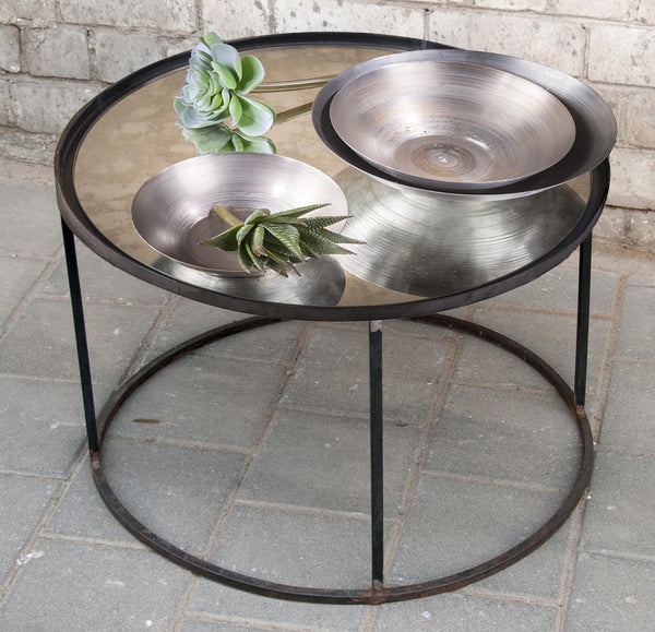 MARIKO- ROUND MIRRORED TABLE