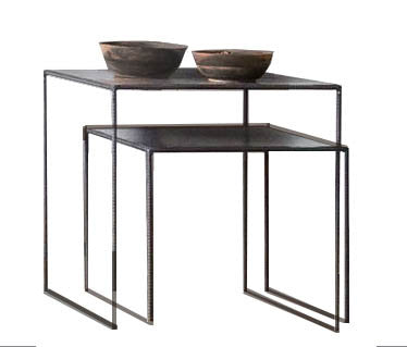 LARA -thin round frame side nesting tables