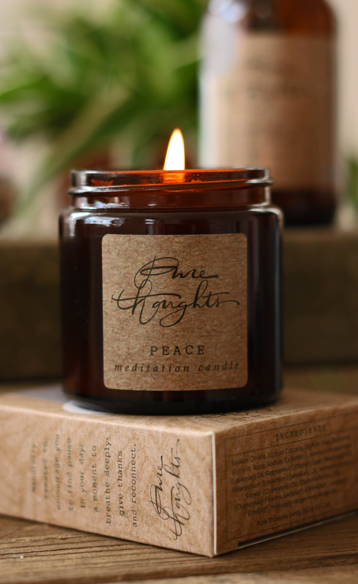 Cultivate a sense of inner peace and intuition.  An aromatherapy candle made from soy wax and pure lavender essential oil.