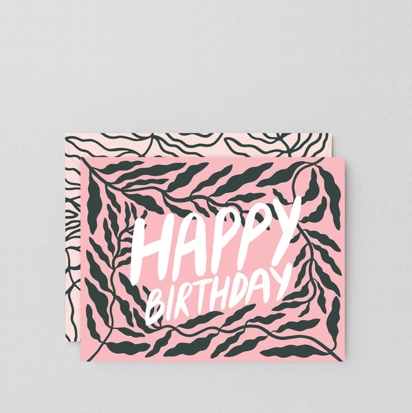 Happy Birthday Leaves Greetings Card