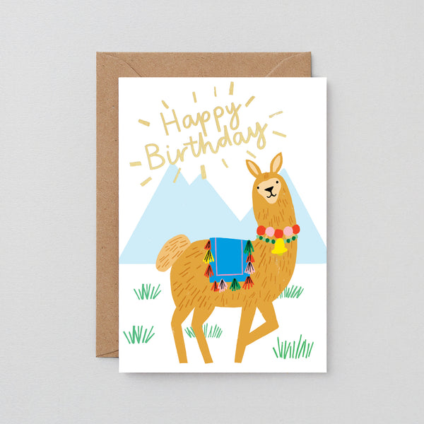 Happy Birthday Llama Greetings Card