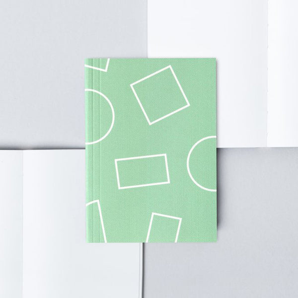 Ola A6 Pocket Layflat Notebook | Jade Green Shapes