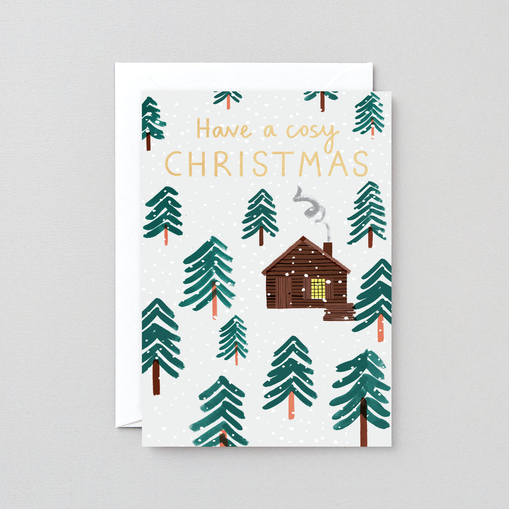 Have a Cosy Christmas Log Cabin Greetings Card