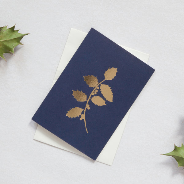 Holly Navy / Brass Christmas Card