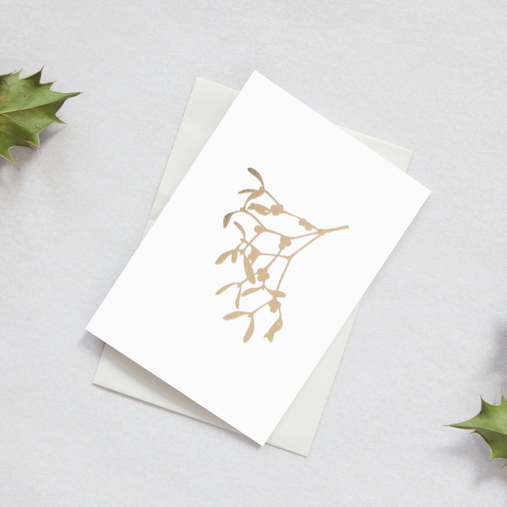 Mistletoe Ivory / Brass Christmas Card