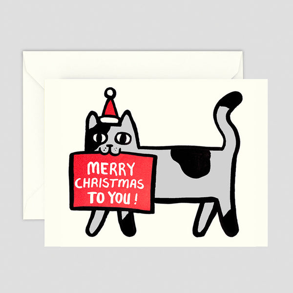 Merry Christmas Cat Mini Greetings Card