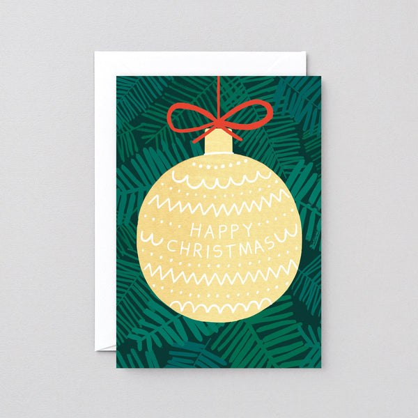 Golden Bauble Christmas Greetings Card