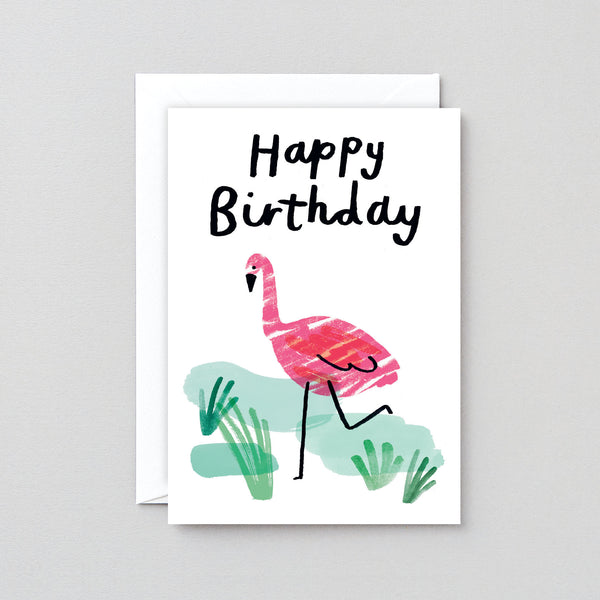 Happy Birthday Flamingo Greetings Card