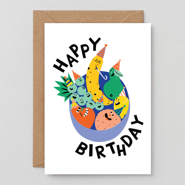 Happy Birthday Fruit Bowl Greetings Card