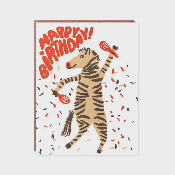 Happy Birthday Zebra Greetings Card