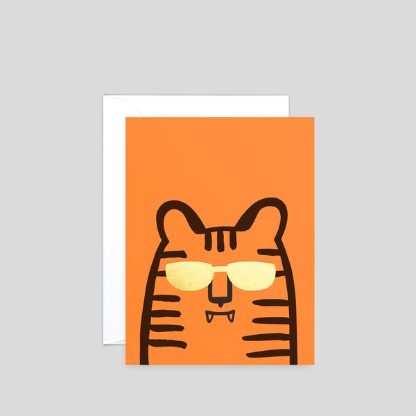Tiger Mini Letterpress Greetings Card