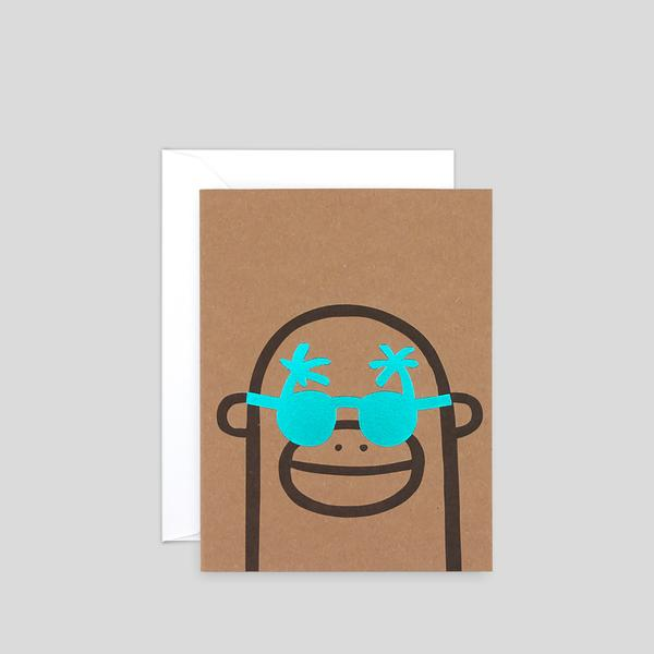 Monkey Mini Letterpress Card