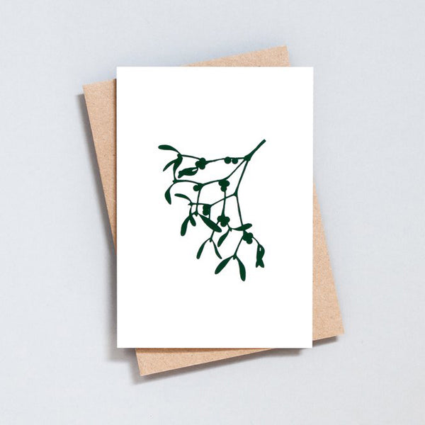 Mistletoe Ivory / Green Christmas Card