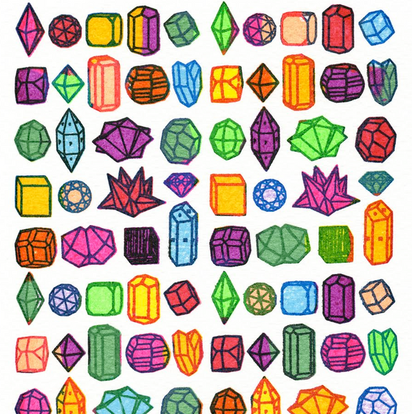 Crystals & Gems mini screen print