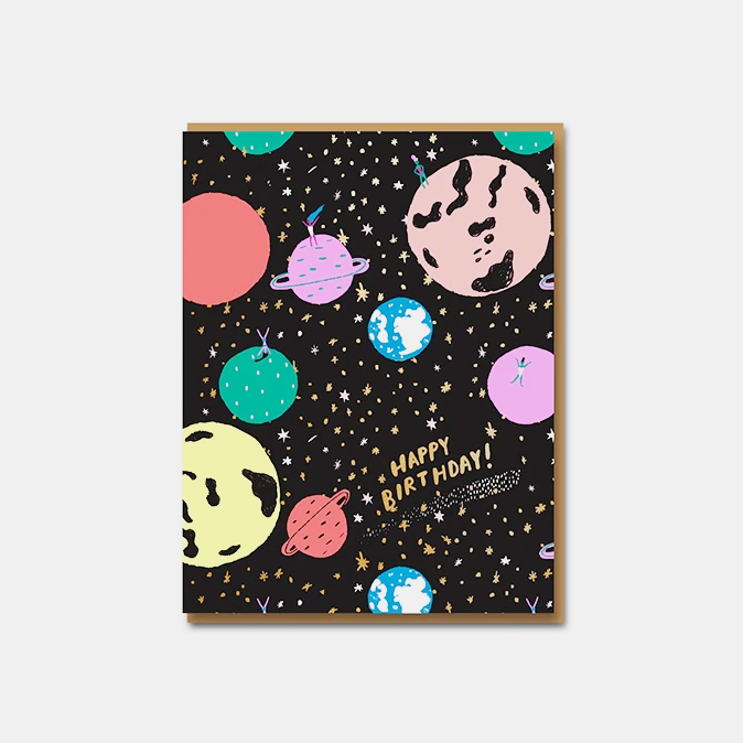 Girls on Planets Birthday Greetings Card