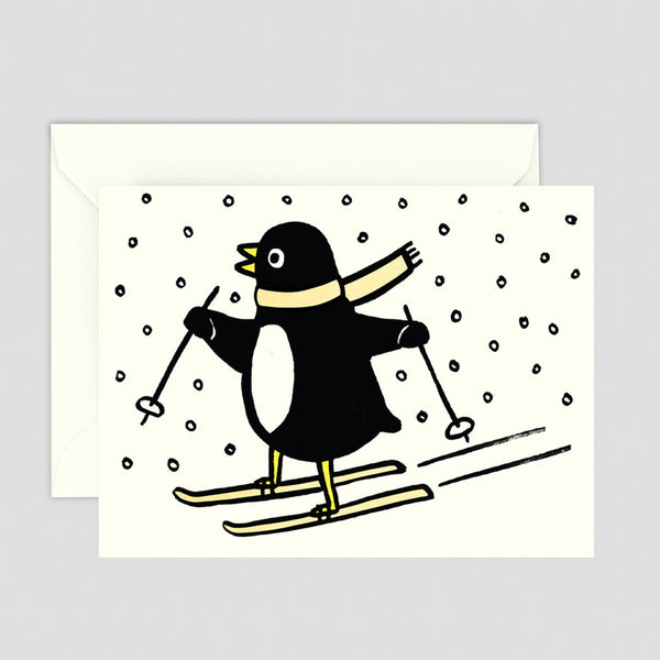 Skiing Penguin Christmas Mini Greetings Card