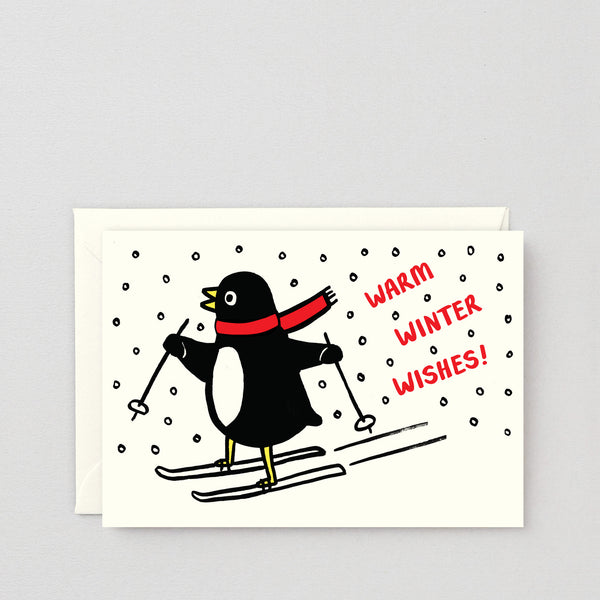 Warm Winter Wishes Penguin Christmas Greetings Card