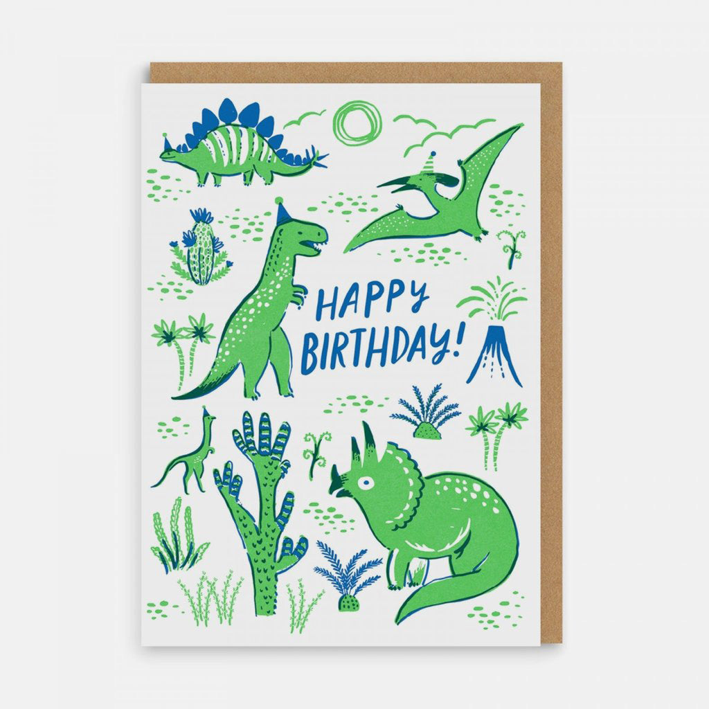 Dinosaurs Happy Birthday Greetings Card