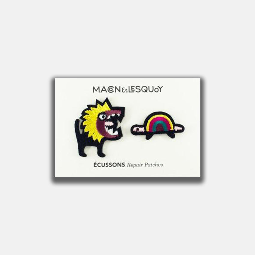 Macon & Lesquoy Lion Eating Tortoise Iron-On Patch