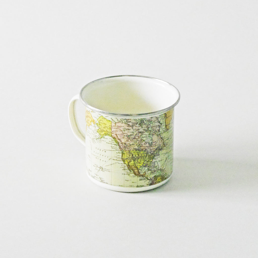 World Map Enamel Mug