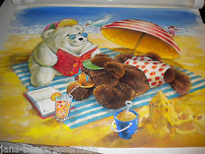 Gund - Snuffles - Original Signed Watercolor - Beach Scene