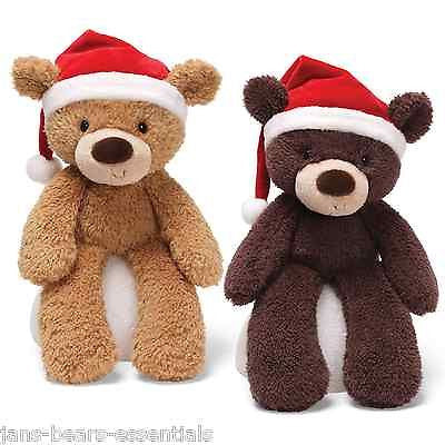 Gund - Fuzzy Bear with Santa Hat - 13""