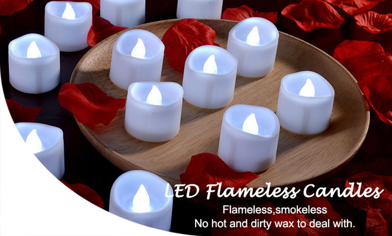 Flickering Tealights Candles - WHITE