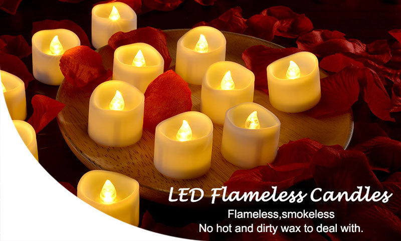 Flickering Tealights Candles - WARM WHITE