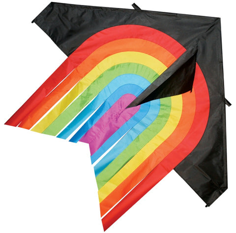 "Skydog Kites - 55"" Black Rainbow Delta - Smooth Wind Kites - 1"