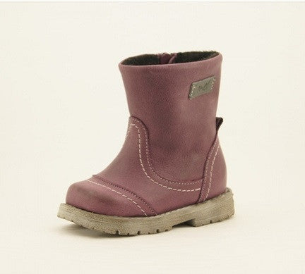 EMEL PLUM LEATHER BOOTS