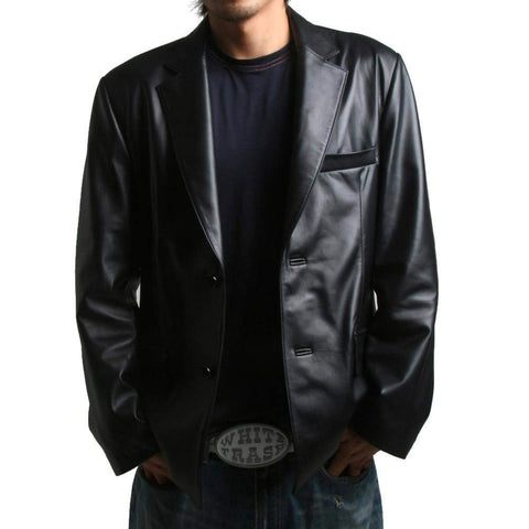 Mens Genuine Leather Jacket Sheepskin Blazer two button (LJ112)