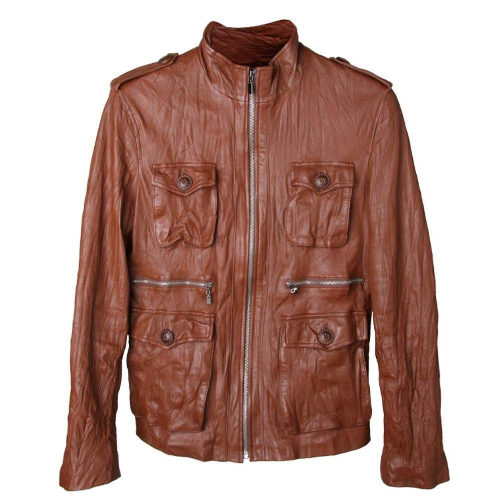 Mens Slim Fit Sheepskin Genuine Leather Jacket Brown Rider (LJ103)