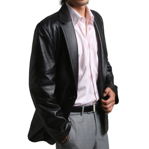 Mens Genuine Leather Jacket Sheepskin Blazer one button (LJ111)