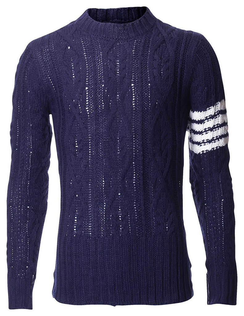 Men's Pullover Cable Knit Sweater with Point Stripe Sleeve (KN402)