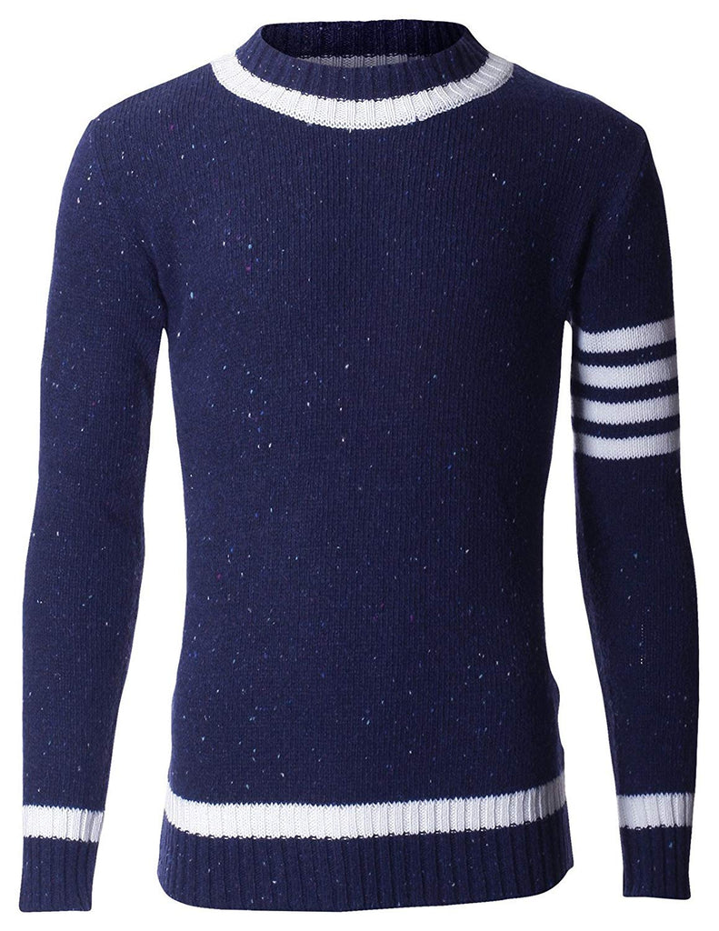 Men's Knitted Pullover Sweater with Point Stripe Sleeve (KN401)