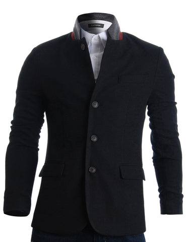 Mens Slim Casual Waffle Fabric Blazer Jacket (BJ105)