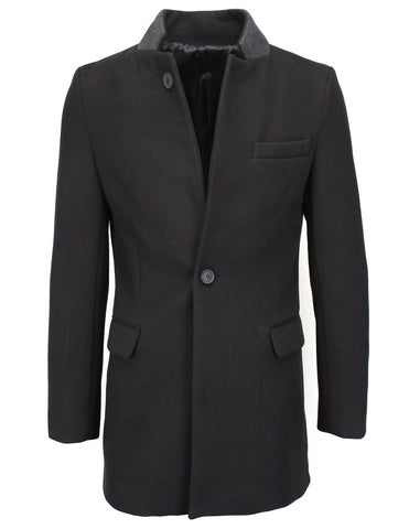 Mens Slim Wool Blend Stand Collar Blazer Jacket (BJ111)
