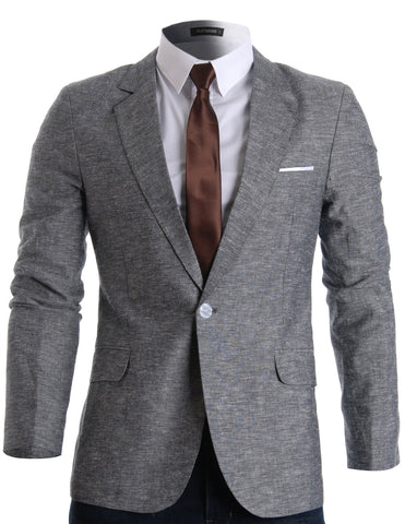 Mens Slim Fit Linen Stylish Casual Blazer Jacket (BJ205)