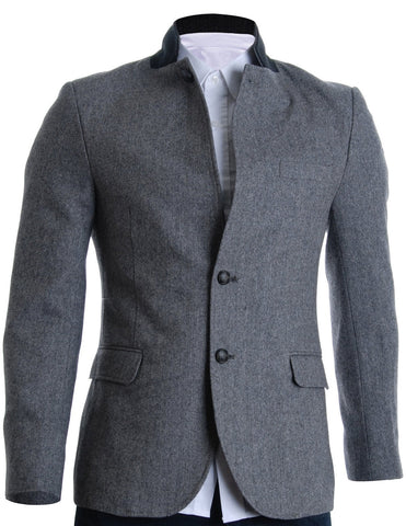 Mens Slim Fit Winter Wool Blends Jacket Herringbone (BJ210)