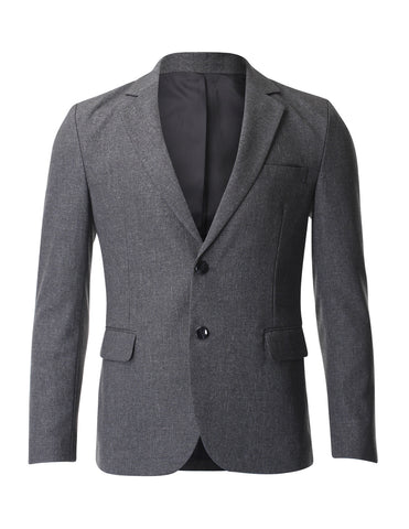 Mens Single Breasted Two Button Blazer Business Jacket with Notched Lapel (BJ231)