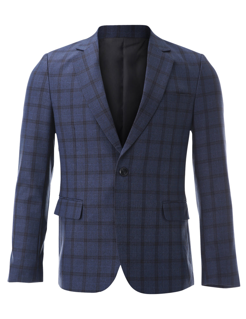 Mens Designer Slim fit One Button Tartan Plaid Casual Blazer Jacket (BJ232)