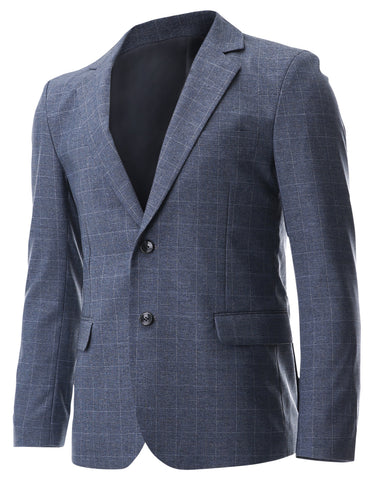 Mens Classic Two Button Check Pattern Single Breasted Blazer Jacket (BJ233)