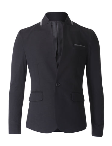 Mens Casual Stand Up Collar One Button Single Blazer Jacket (BJ304)