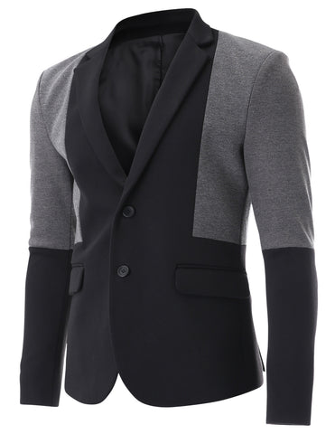 Mens Black and Grey Color Block Two Tone Single Blazer Jacket (BJ311)